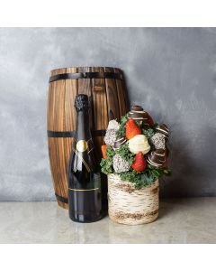 Oakville Chocolate Dipped Strawberries Vase & Bubbly