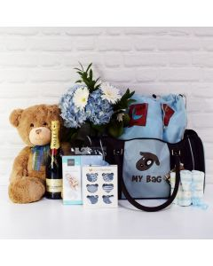 BABY BOY DELUXE TRAVEL BAG WITH CHAMPAGNE, baby boy gift hamper, newborns, new parents