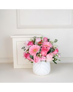 Pink Rose Bouquet with Vase, floral gift baskets, Valentine's Day gifts, gift baskets, romance