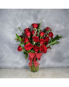 Rosedale Valentine's Day Vase, floral gift baskets, Valentine's Day gifts, gift baskets, romance