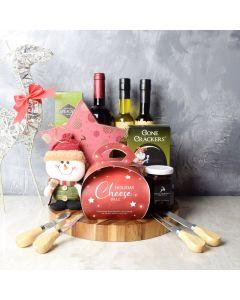 Christmas Cheeseball & Wine Gift Board, wine gift baskets, gourmet gifts, gifts