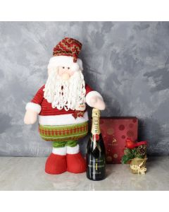 Santa & Gourmet Chocolates with Champagne Gift Set, champagne gift baskets, gourmet gifts, gifts