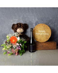 Happy Anniversary Cookie & Champagne Gift Set