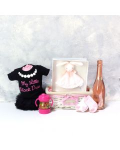 BABY GIRL'S LI'L BLACK DRESS SET WITH CHAMPAGNE, baby girl gift hamper, newborns, new parents