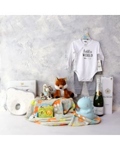 BABY'S PLAYTIME & NAPTIME GIFT SET WITH CHAMPAGNE, baby boy gift hamper, newborns, new parents