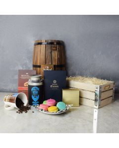 Coffee & Macaron Gift Crate, gourmet gift baskets, gourmet gifts, gifts